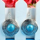 Fashion natural Turquoise Thailand silver hook earrings ! Gift Jewelry and Love