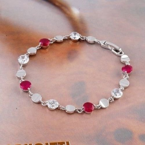 Fashion 18k Gold Plated bracelet - red & white zircons ! Woman & Man gifts