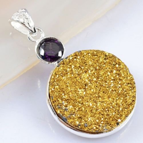 Silver 925 necklace & pendant set natural agate titanum druzy ! Gift & Jewelry
