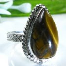 Pretty fashion silver 925 & Tiger eye ring size 7 1/4 ! Gift Jewelry and Love