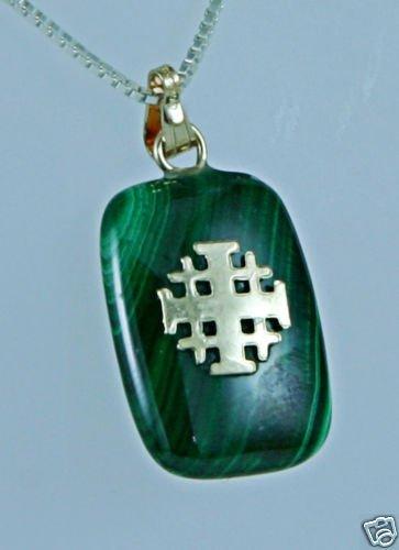 Malachite stone pendant , 14k gold jerusalem cross