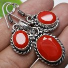 Silver earrings & pendant set red coral stone + necklace ! Gift Jewelry & Love