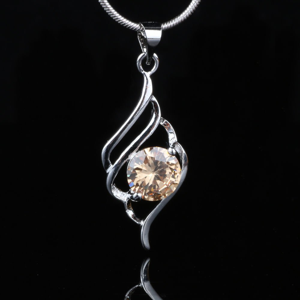 Fashion champagne gemstone silver plated pendant + chain ! Gift Jewelry & Love