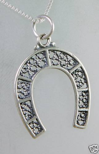 """Fashion silver 925 """" luck horseshoe """" & sterling necklace ! Gift Jewelry & Love"""