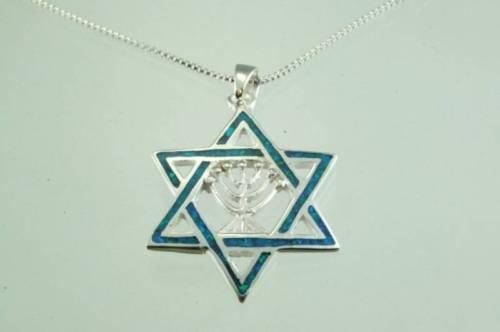 Fine silver Opal star of David pendant & sterling chain