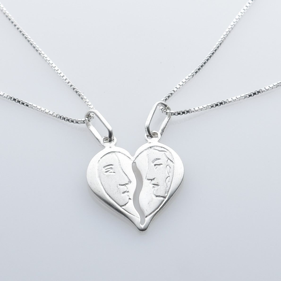Fashion solid silver 925 pendant broken heart with 2 chains ! Gift & Jewelry