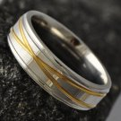 Fashion Design Yellow Gold Filled & Stainless Steel Ring Size 9 ! Gift & Jewelry