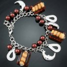 Fashion stylish brown Moon bracelet - stone & beads ! Woman & Man gifts