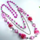 Special pretty colored glass and shell silver necklace ! Gift Jewelry & Love