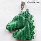 Fashion silver necklace & pendant set malachite horse head ! Gift Jewelry & Love