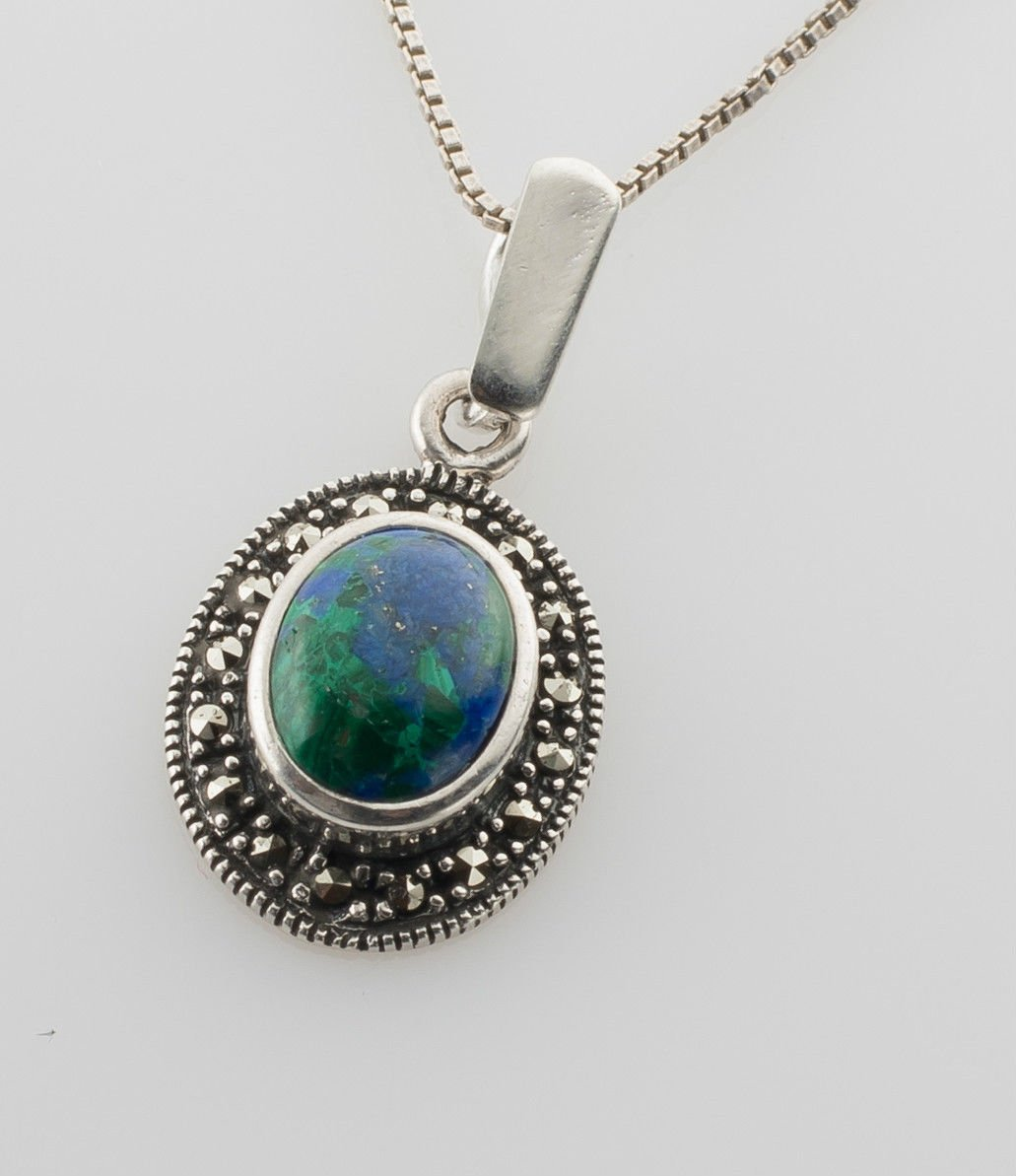 Sterling silver necklace & pendant natural Eilat stone Israel ! Gift & Jewelry