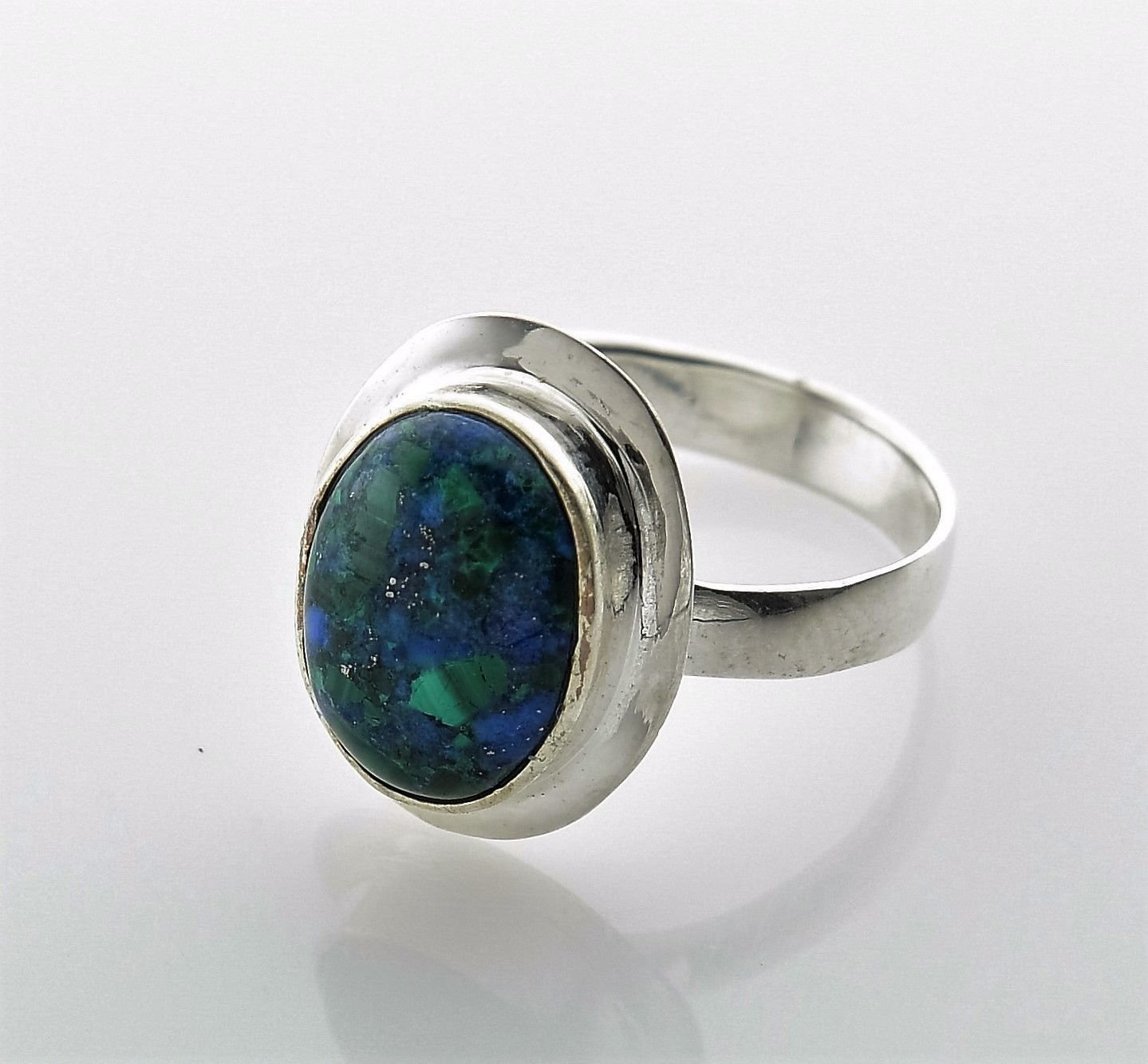 Sterling silver 925 ring set natural Eilat gemstone size 6.5 ! Gift & Jewelry