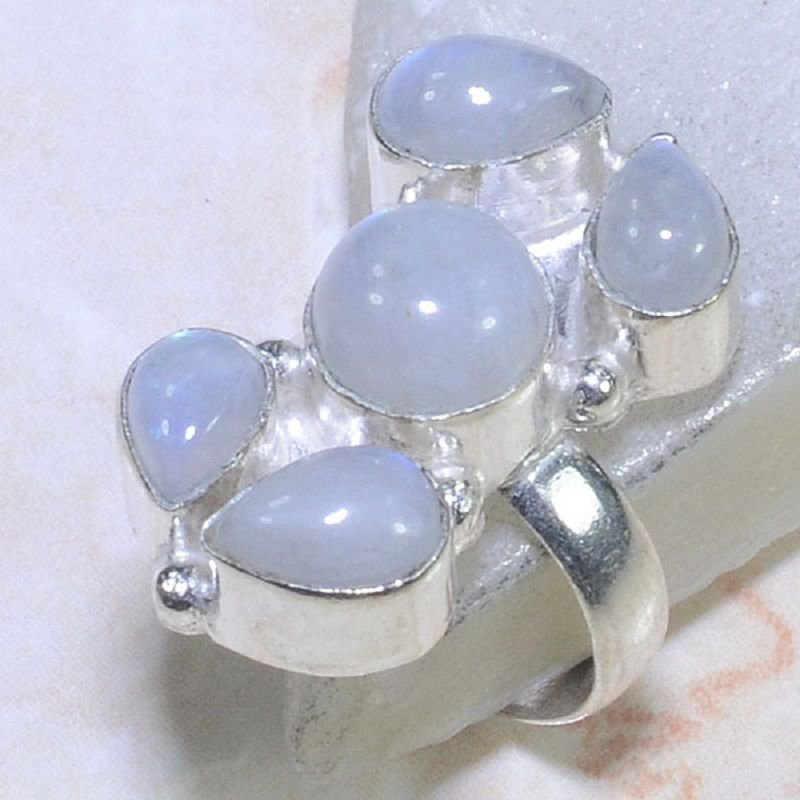 Fashion silver 925 & rainbow moonstone ring size 6 3/4 ! Gift Jewelry & Love