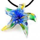 Lotus Sea Star Art Murano Glass Pendant Ribbon Necklace ! Gift Jewelry & Love