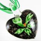 Heart Flower Handmade Art Murano Glass Pendant Ribbon Necklace ! Gift & Jewelry