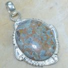 Natural pretty silver set Jasper stone pendant + necklace ! Gift Jewelry & Love