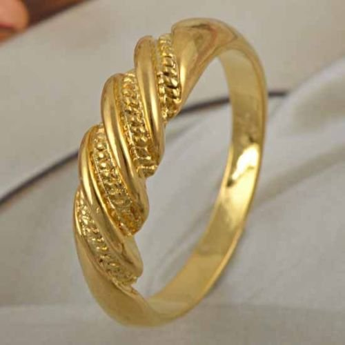 Fashion Design 9K Yellow Gold Filled Twisted Band Ring Size 9 ! Gift & Jewelry
