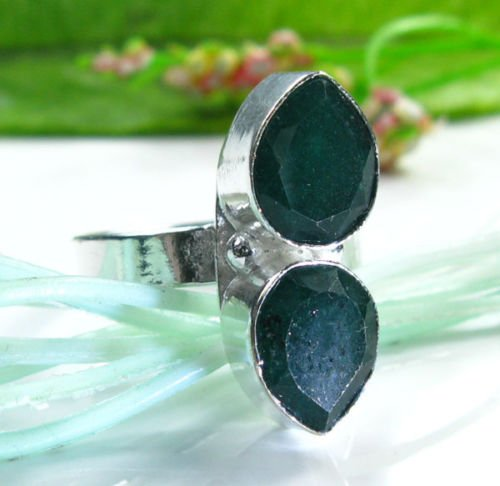 Fashion natural Jade sterling 925 ring size 7 3/4 ! Gift Jewelry & Love