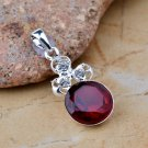 Fashion silver necklace & pendant set classic red ruby gemstone ! Gift & Jewelry