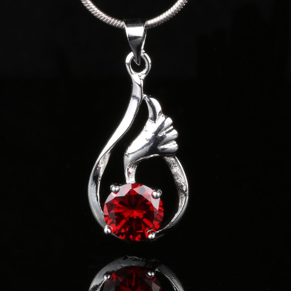 Fashion red zircon gemstone silver plated pendant + necklace ! Gift & Jewelry