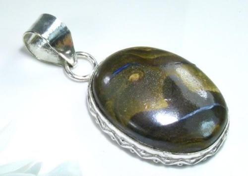 Jasper unique color silver pendant + sterling necklace ! Gift Jewelry & Love
