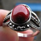 Fashion retro natural red coral Thailand silver ring size 8.5 ! Gift & Jewelry