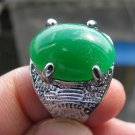Fashion retro natural green jade Thailand silver ring size 10 ! Gift & Jewelry