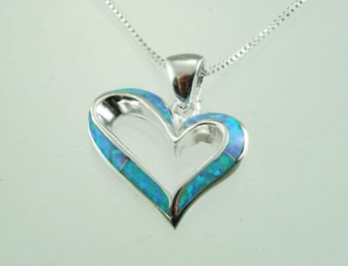 Fashion Silver & opal heart pendant & sterling chain ! Gift Jewelry & Love