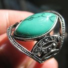 Fashion Thailand silver ring green Turquoise stone size 7.5 Gift Jewelry & Love
