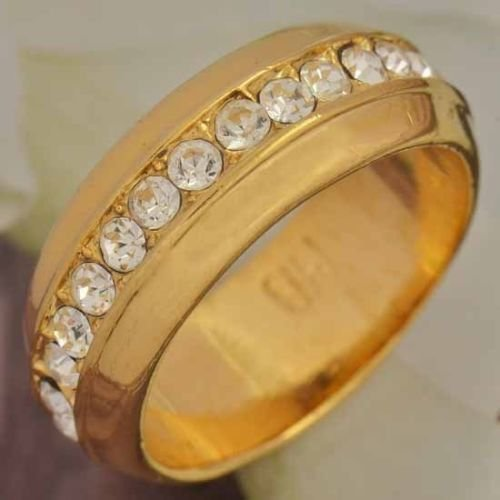 Fashion design real 9k gold filled set zirons row ring size 9 ! Gift & Jewelry