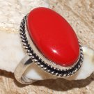 Fashion retro natural red coral gemstone silver ring size 9.5 ! Gift & Jewelry