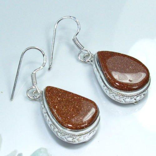 Fine fashion silver 925 & natural Sun sitara earrings ! Gift Jewelry and Love