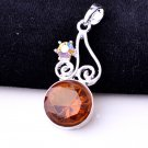 Fashion silver necklace & pendant set Classic Topaz gemstone ! Gift & Jewelry
