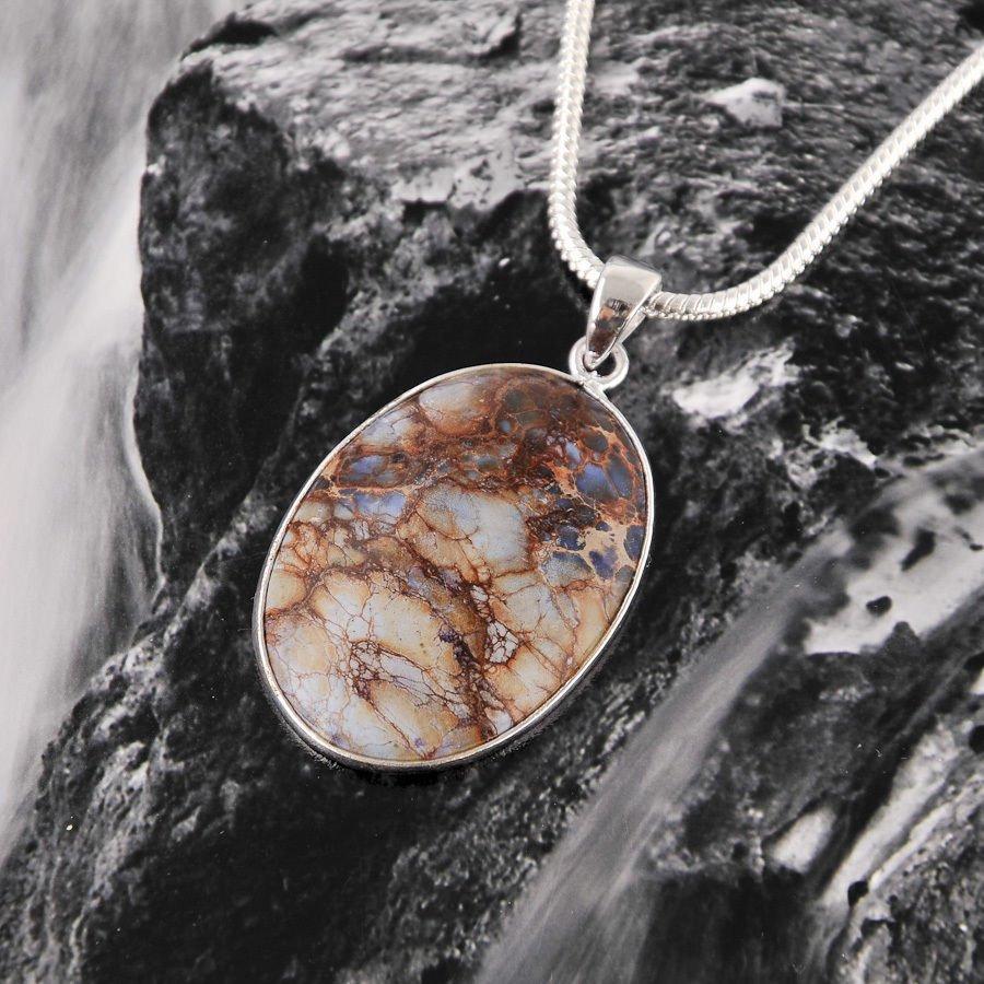 silver necklace & pendant set Sea Sediment Jasper stone ! Gift Jewelry & Love