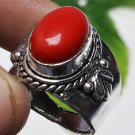 Fashion retro natural red coral gemstone silver ring size 8.75 ! Gift & Jewelry