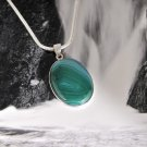 Fashion silver chain & pendant set green Onyx Agate stone ! Gift Jewelry & Love