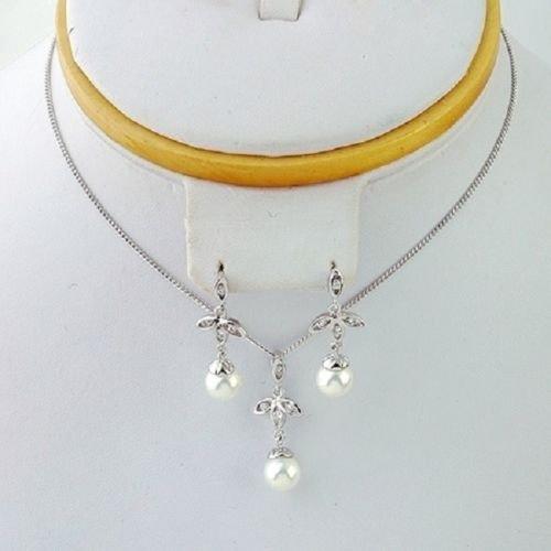 18k gold plated pearl & CZ(Zircon) lady jewelry set