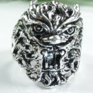Beautiful animal face design silver stamp ring size 6 ! Gift Jewelry & Love