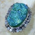 Fashion titanium druzy gemstone silver ring size 9 3/4 ! Gift Jewelry & Love