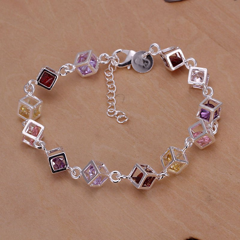 Fashion solid silver 925 bracelet set colorful zircons ! Gift Love & Jewelry