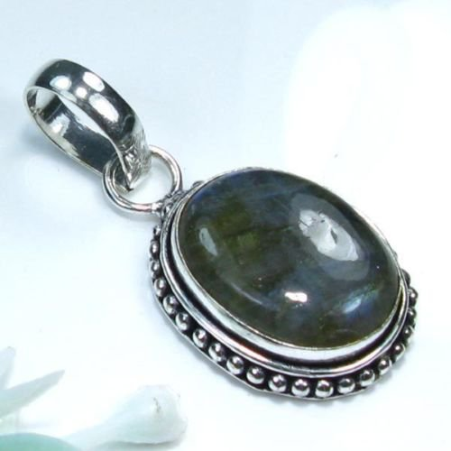 Labradorite stone silver 925 pendant + sterling chain ! Gift Jewelry and Love