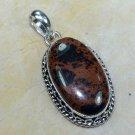 "Silver 925 chain & mahagony obsidian gemstone pendant 2"" ! Gift Jewelry & Love"