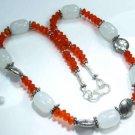 "Vitage Orange quartz chalcedony silver necklace 18 1/4"" ! Gift Jewelry & Love"