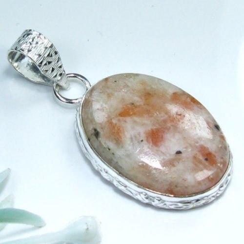 Natural Calcite silver 925 pendant + sterling necklace ! Gift Jewelry & Love
