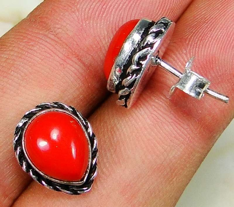 Special fashion silver & natural red coral stone earrings ! Gift Jewelry & Love