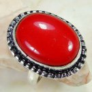 Retro design silver set red coral gemstone ring size 8.5 ! Gift Jewelry & Love