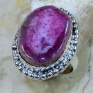 Fine fashion natural Drusy Agate silver ring size 8 1/2 ! Gift Jewelry & Love
