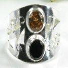 Fashion silver black onyx & orange quartz ring size 8.5 ! Gift Jewelry & Love