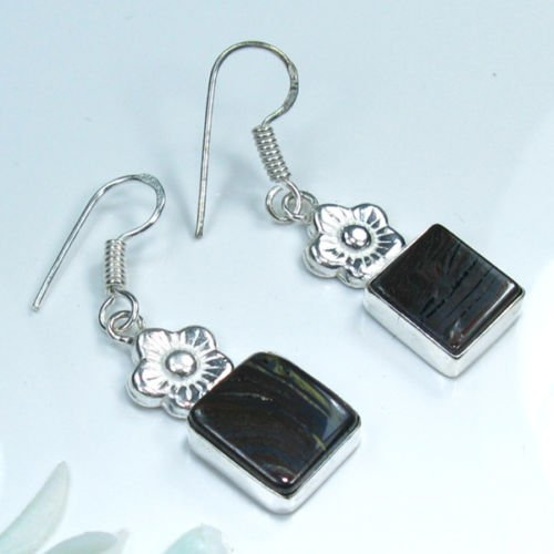 Fine pretty silver 925 natural jasper stone earrings ! Gift Jewelry and Love