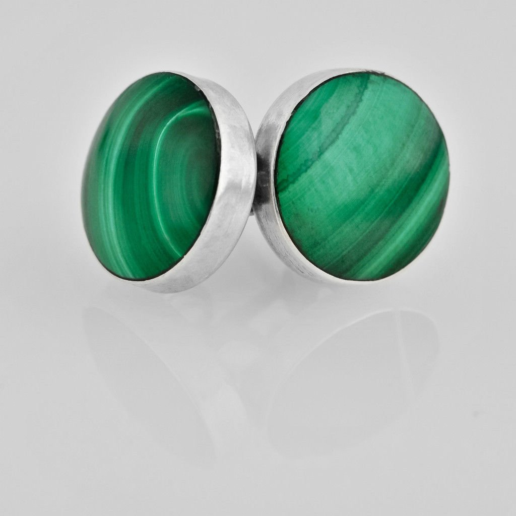 Fashion silver 925 earrings set with Malachite gemstone ! Gift Jewelry & Love